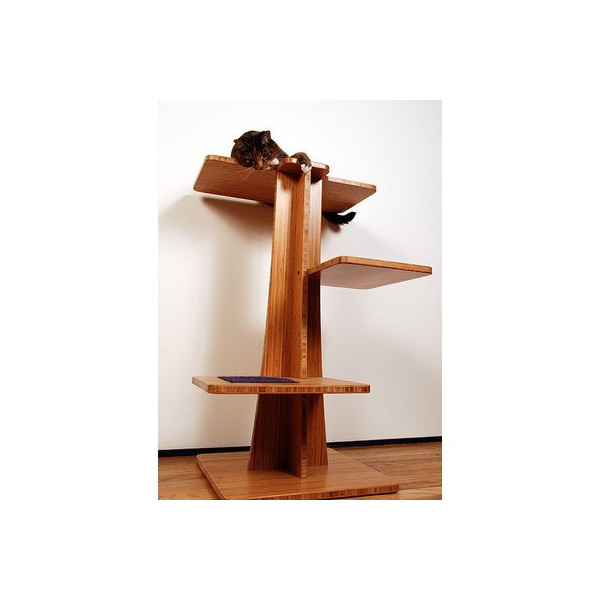 "36"" Acacia Cat Tree Base Material: Bamboo Amber Vertical, Inserts: Mohair Chinchilla"