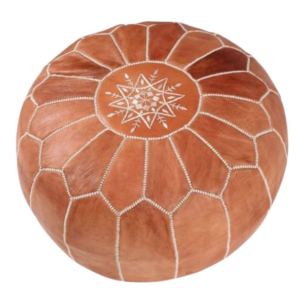 Maison Marrakech | Beautiful Handmade Real Moroccan Tan Brown Leather Footstool Pouf from Marrakech | Colour Tan Brown with White Stitching | Delivered unstuffed