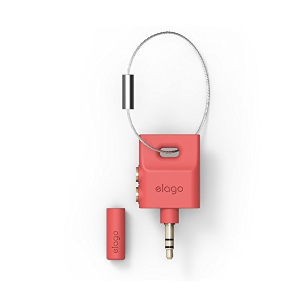 elago Keyring Headphone Splitter for iPhone, iPad, iPod, Galaxy and any portable device with 3.5mm (Italian Rose)