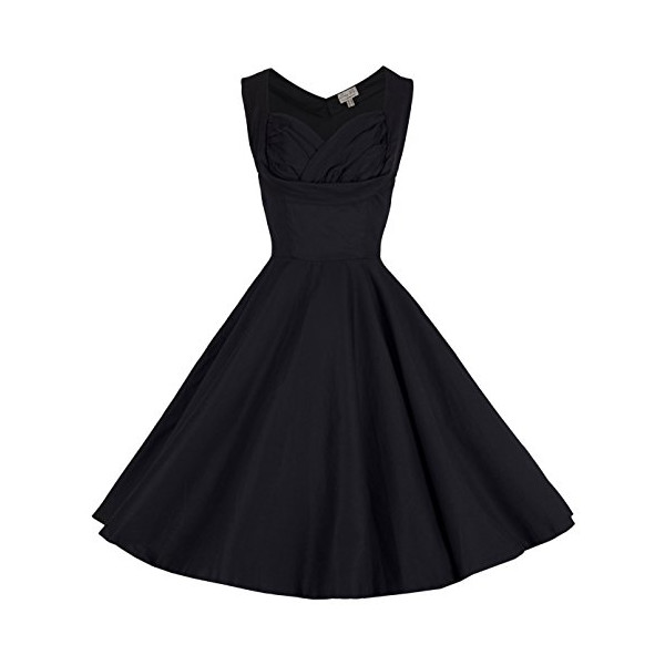 Lindy Bop 'Ophelia' Vintage 1950's Prom Swing Dress (M, Black)