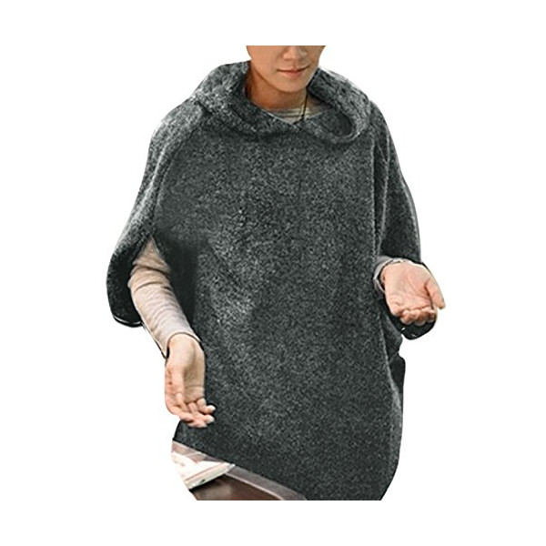 Allegra K Women Pullover Hooded Half Bat Wing Sleeve Knitting Shirt, Large / US 14, Dark Gray