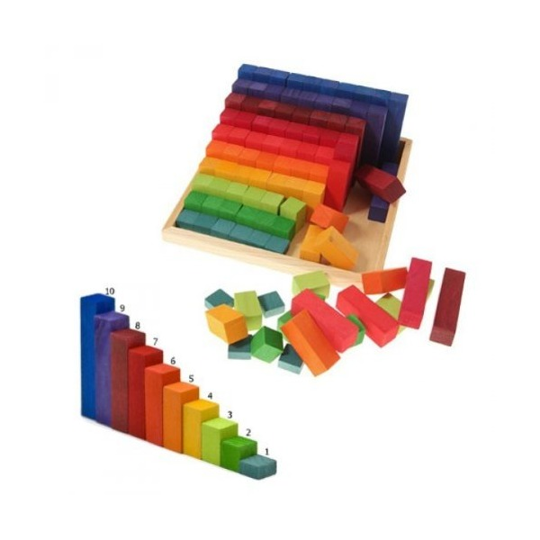 Grimm's Wooden Stepped Counting Blocks in Storage Tray - 100 Blocks from 1 cm to 10 cm High (2x2 Size)