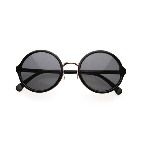 Vintage Inspired Classic Round Circle Sunglasses w/ Metal Bridge (Black-Gold/Smoke)