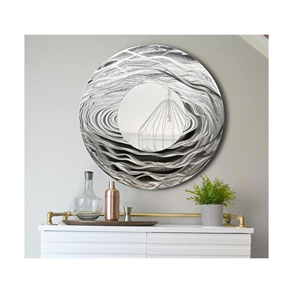 Large Round Silver Contemporary Metal Wall Art Mirror - Modern Metal Home Decor - Wall Accent - Office Artwork by Jon Allen - Mirror 114