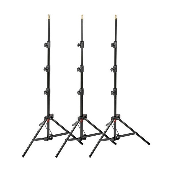 Manfrotto 6-Feet 9-Inches Alu Mini Compact Stand AC with 4 Section and 3 Risers, Set of 3