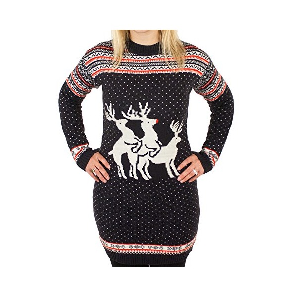 Ugly Christmas Sweater - Reindeer Threesome Naughty Holiday Sweater Dress in Blue X-Small By Festified