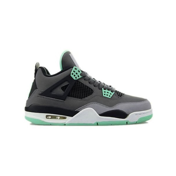 Nike Mens Air Jordan Retro 4 Basketball Shoes Dark Grey/Cement Grey/Green Glow 308497-033 Size 9.5