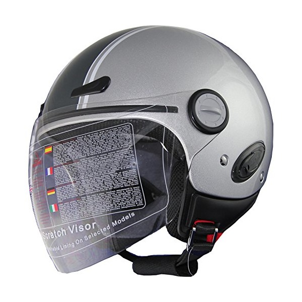 Open Face Motorcycle Scooter Helmet DOT 318_398 Silver (S)