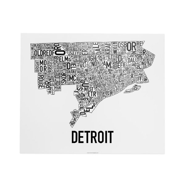 "Detroit Neighborhoods Map, Black & White, 24"" x 20"""