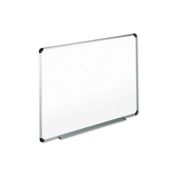 Universal Dry Erase Board, Melamine, 48 x 36 Inches, Black/Gray Aluminum/Plastic Frame (43724)