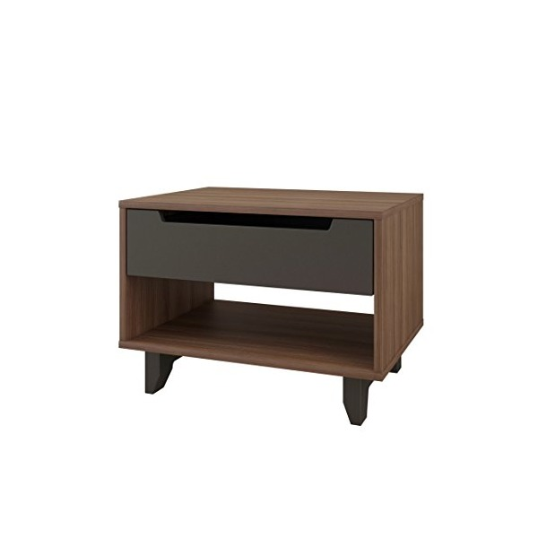 Nexera 340142 Alibi 1-Drawer Nightstand, Walnut & Charcoal