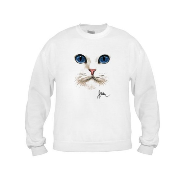 Cat Face Adult Sweatshirt, Birch