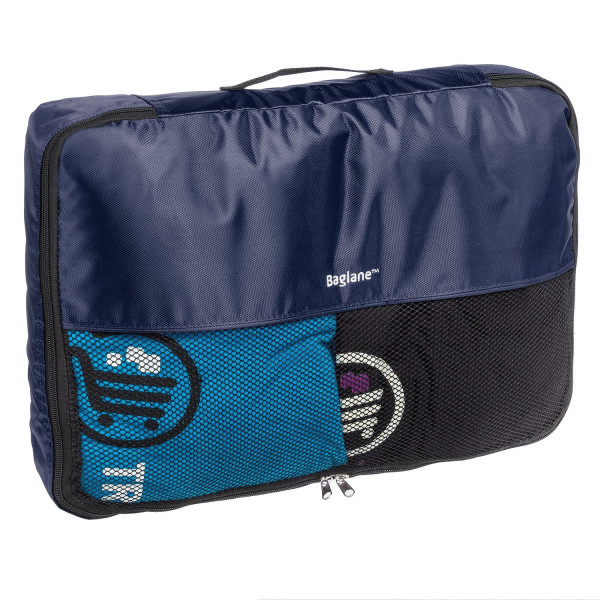 Baglane Packing Cube Bags - TechLife Nylon Travel Luggage (Navy Blue, Large)