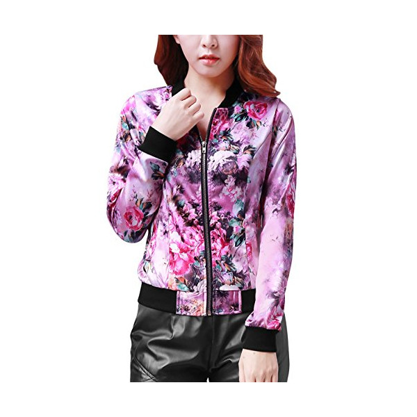 Allegra K Women Long Sleeve Jackets Zip up Jacket Floral Print Bomber Jacket