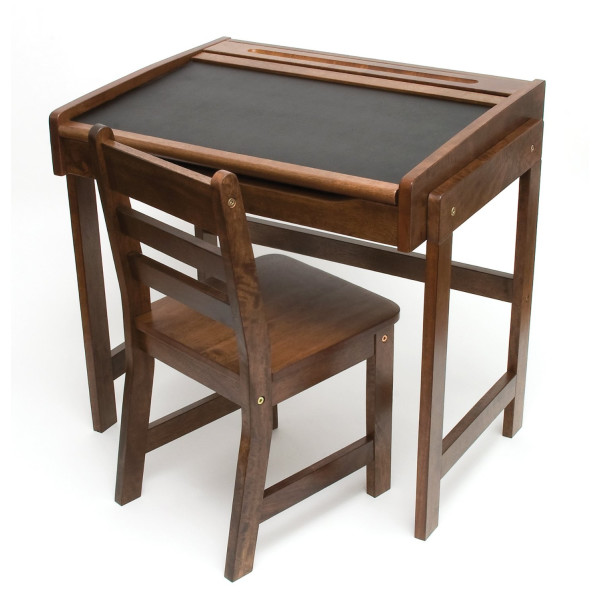 Lipper International Child's Desk with Chalkboard Top and Chair Set, Walnut