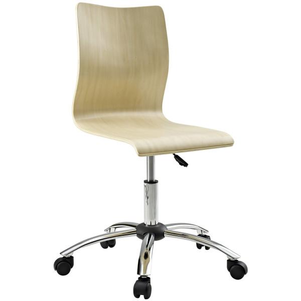 LexMod Fashion Plywood Swivel Office Chair in Natural
