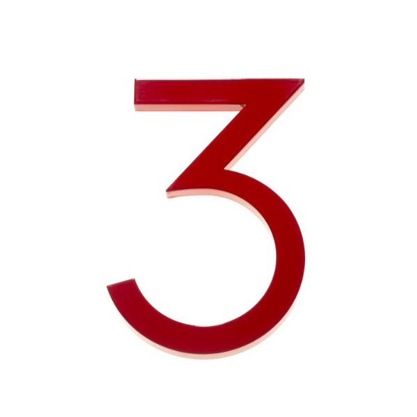 "Modern House Number Red Color Aluminum Modern Font Number Three ""3"" 8 inch"