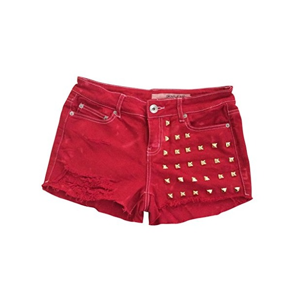 Women's High Waisted Red Denim Studded Stud Levi Frayed Cut Off Shorts-L