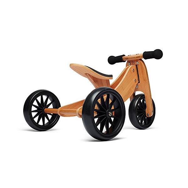 Kinderfeets TinyTot Wooden Balance Bike and Tricycle, Convertible No Pedal Balance Trike for Kids and Push Bike, Natural - 2 in 1