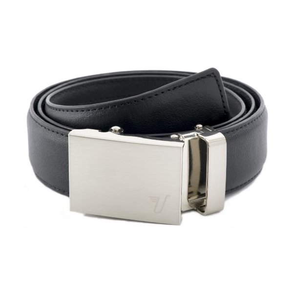 Mission Belt Men's Brushed Stainless Steel and Black Leather Ratchet Belt - Large - Steel