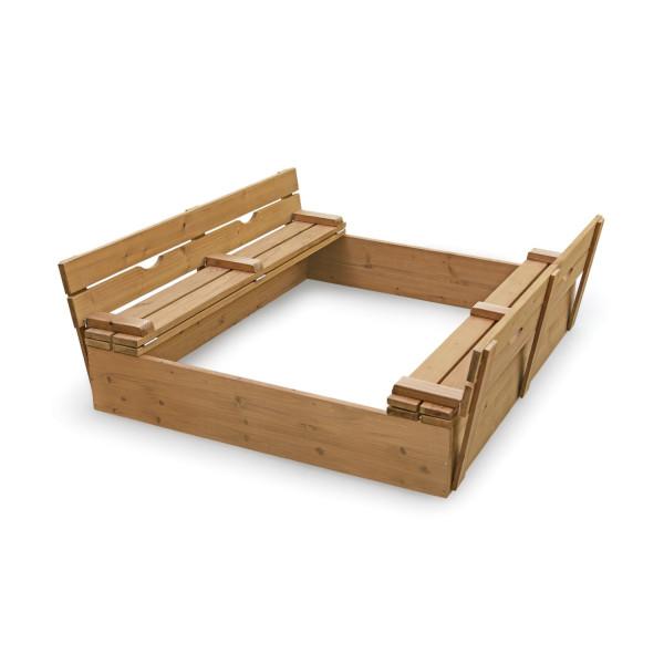 Badger Basket Covered Convertible Cedar Sandbox with Two Bench Seats, Natural