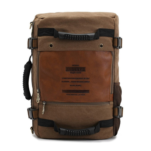 KAUKKO Canvas Backpack Rucksack Handbag 29x17x45cm (11.42x6.69x17.72inch) - Dark Khaki