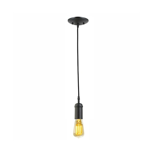 Globe Electric 64906 1 Light Vintage Edison Hanging Socket Pendant Light Fixture, Matte Black Finish with Black Rope