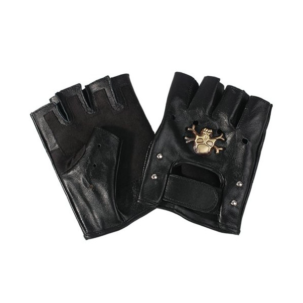 2013Newestseller Men's Motorcycle Sheepskin Leather Fingerless Half Gloves Skull- Black