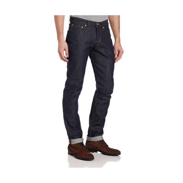 Naked & Famous Denim Men's WeirdGuy Low Rise Tapered Leg Jean In Dirty Fade Selvedge, Dirty Fade Selvedge, 34x35