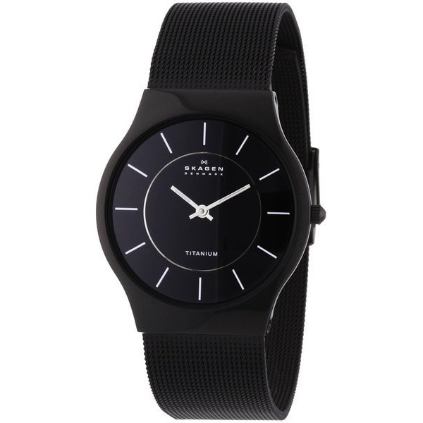 Skagen Men's Black Titanium Mesh Bracelet Watch