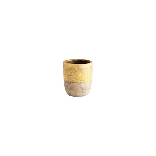 CYAN DESIGN 05441 Small Carver Planter, Yellow Glaze