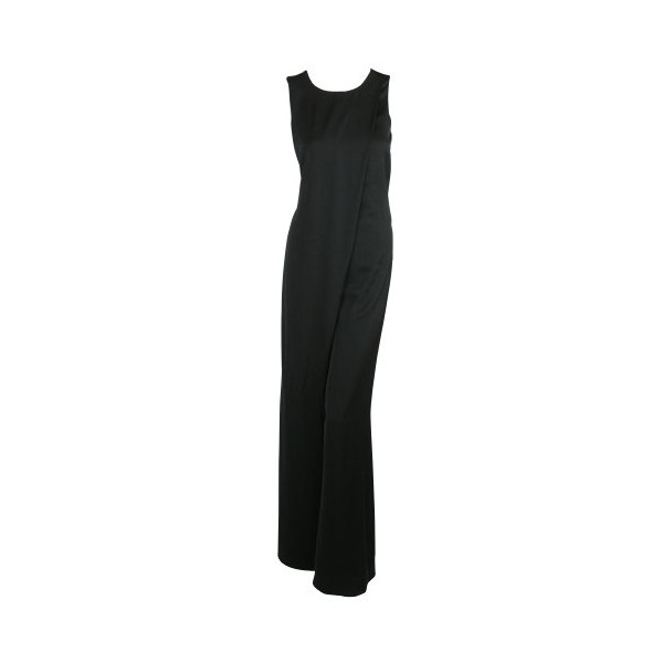 M Missoni Womens Black Asymmetrical Wide Leg Sateen Jumpsuit 42