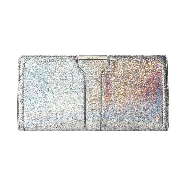 MILLY Delano Metallic Frame Clutch,Silver,One Size