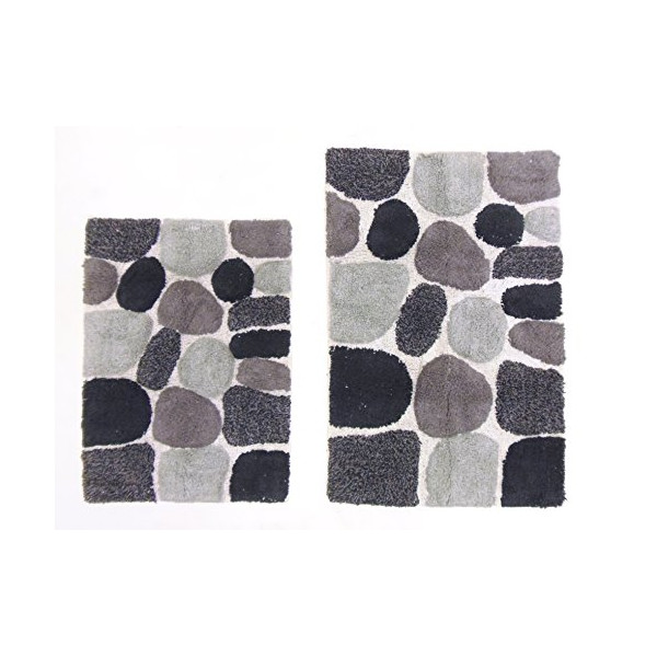 Cotton Craft - 2 Piece Bath Rug Set - Pebbles Stones with Spray Latex Back - Grey Multi - 100% Pure Cotton - High Quality and absorbent - Super Soft and Plush - Hand Tufted Heavy Weight Durable Construction - Larger Rug is 21x32 Oblong and Second Rug is O
