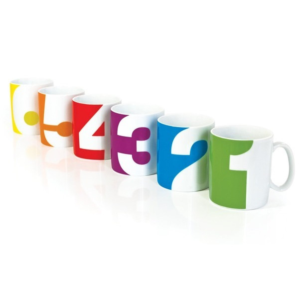 Number Mugs, Set of 6 (by Suck UK)