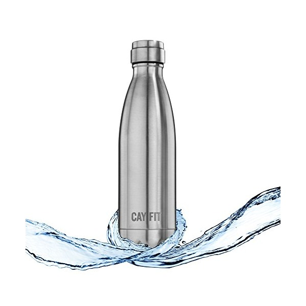 Cayman Fitness Premium Insulated Stainless Steel Water Bottle. BPA Free, Will Not Sweat or Leak. Keeps Drinks Hot for 12 Hours and Cold for 24. Satisfaction Guaranteed.