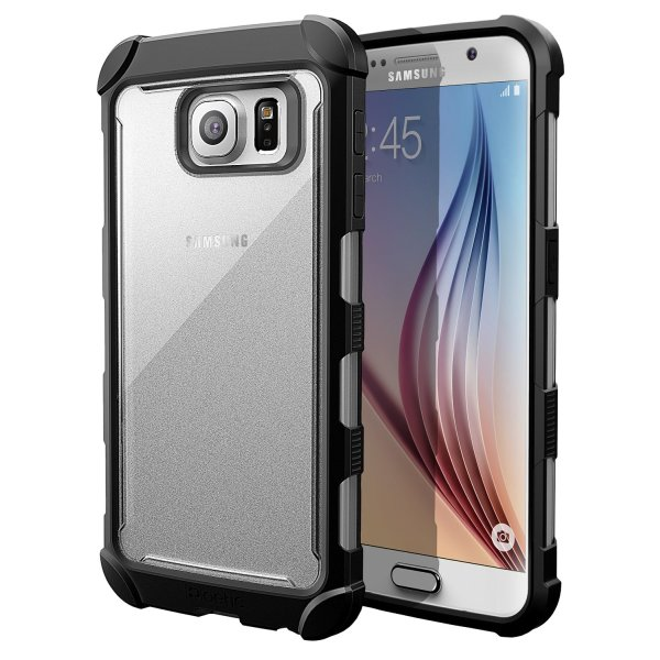 Galaxy S6 Case - Poetic [Affinity Series] - [TPU Grip Bumper] [Corner Protection] Protective Case for Samsung Galaxy S6 (2015) Frost Clear/Black (3-Year Manufacturer Warranty From Poetic)