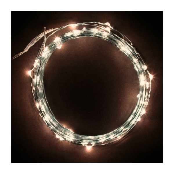 Rtgs Micro LED 100 Warm White Color Lights Plug In on 32 Ft Long Silver Ultra Thin String Wire [NEWEST VERSION] + 100% RTGS Products Satisfaction Guarantee