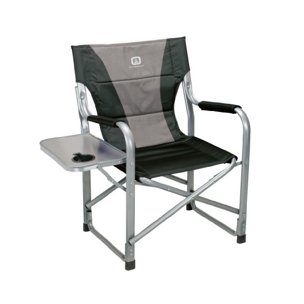 Outbound Deluxe Directors Chair with Side Table (Black, Medium)
