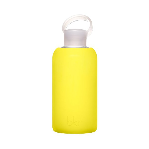 BKR Bottle, Glass Water Bottle with Soft Silicone Sleeve, Canary