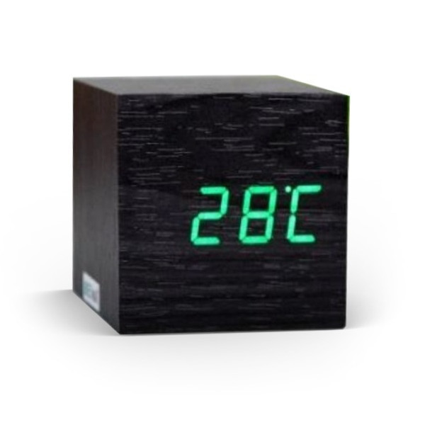 EiioX Cube Mini Green LED Black Skin Wooden Alarm Clock With Thermometer Time Display Vioce Activated