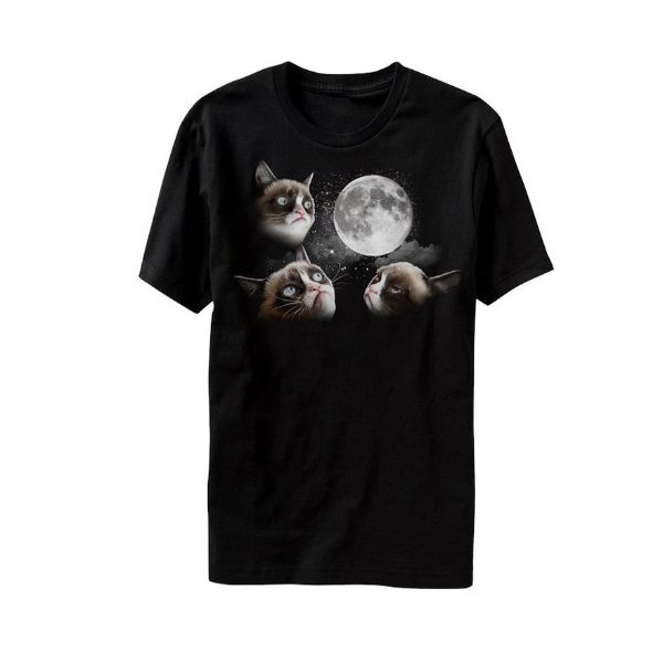 Grumpy Cat - 3 Grumpy Cat Moon - T-shirt Black (Small)
