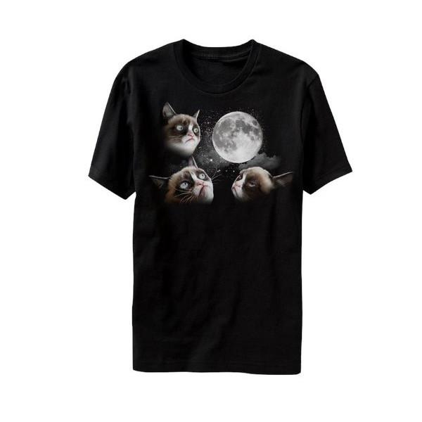 Grumpy Cat - 3 Grumpy Cat Moon - T-shirt Black (Small)