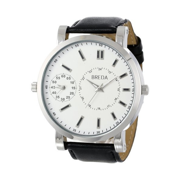 Breda Men's 1637 Silver/Black Aaron Oversized Watch