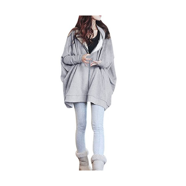 Allegra K Women Full Zip Hoodie Batwing Long Sleeve Top Plus Size Hooded Coat (S (US 6), Light Gray)