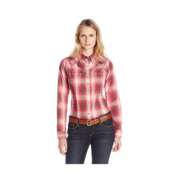 Wrangler Women's Rock 47 Long Sleeve Woven Shirt, Brown/Pink/Gold Plaid, Large