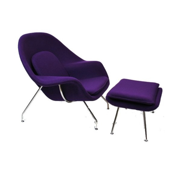 Eero Saarinen Womb Style Chair and Ottoman (Purple)