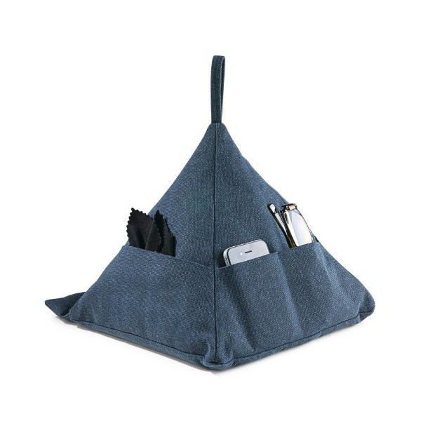 Levenger Canvas Pyramid Pillow, Denim