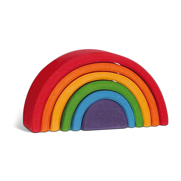 Grimm's Mini Rainbow Nesting Wooden Blocks Stacker, Elements of Nature