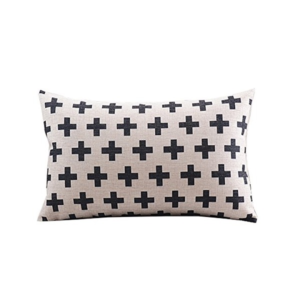 "Create For-Life Cotton Linen Decorative Pillowcase Throw Pillow Cushion Cover Cross Pattern Rectangle 12"" * 20"""